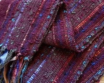 handwoven lightweight garnet marsala burgundy scarf