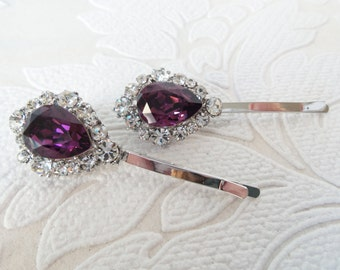 Amethyst Purple Bridal Hair Pins with Swarovski Crystal on Strong Bobby Pin for Vintage Art Deco Hair Style or Victorian Wedding Headpiece