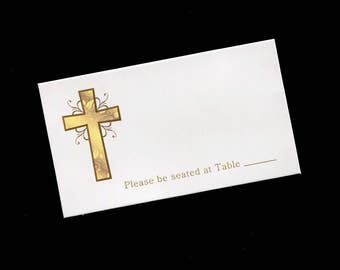 Place Card - Baptism - Gold Cross - Table Tent
