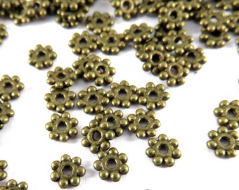 50 Daisy Spacer Disk Bead Antique Bronze 4mm LF and NF - 50 pc - M7010-AB50