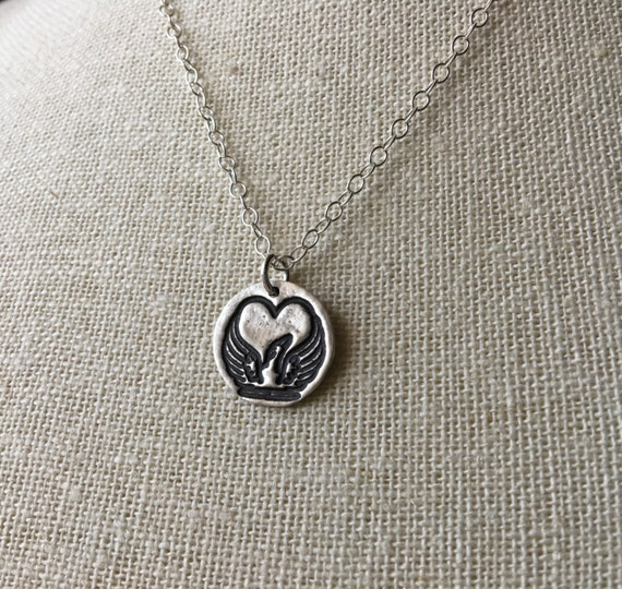 ShannonOReilly's Forever In My Heart - Greyhound Winged Heart Pendant Necklace - Small - Fine & Sterling Silver