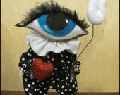 RESERVED 4 JULIE Whimsical spooky anthropomorphic Eye heart U doll decor goth home decor gift Primitive creepy cute country decor