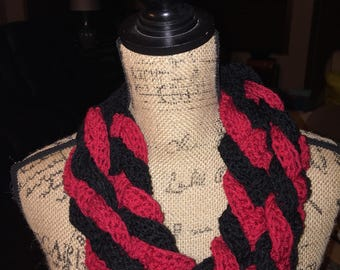 Black and Red Crochet Braided Cowl