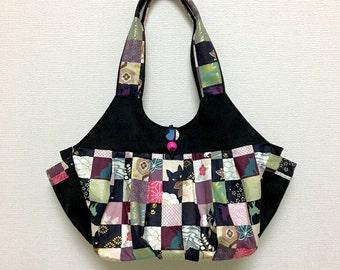 Fabric Shoulder Bag / Fabric Granny Bag / Cat Print bag --- Kimono Cat - Pink