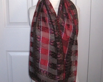 oblong scarf .  wine colored scarf . semi sheer scarf . silk scarf . made in Italy . Italian silk scarf . cathedral window scarf
