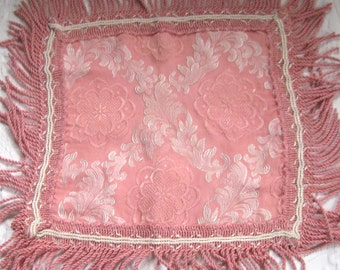 turkish doily . pink brocade doily . fringed doily