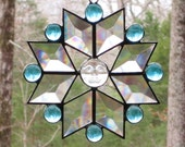 Stained Glass Suncatcher - Star with Iridescent Clear Moonface, Diamond Bevels,  and Aqua Glass Nuggets