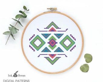 Aztec Tribal  ethnic boho cross stitch pattern, PDF instant Download