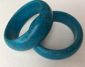 Two Turquoise Howlite Stone Bangles