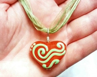 Lampworked Orange and Green Heart Necklace