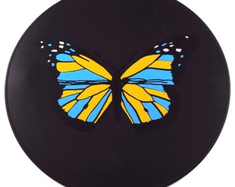 Round Black Silicone Butterfly Table Placemat Table Trivet Kitchen Hot Pad Table Mat