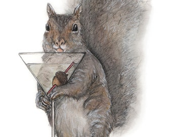 Drinking Squirrel Print - Proceeds to Charity - Nonprofit Gift - Squirrel Gift - Squirrel Print - Squirrel Painting - Squirrel Watercolor