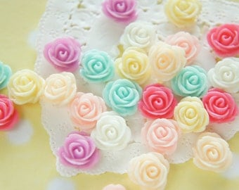 14 pcs Lovely Color Rose Cabochon (14mm) FL455