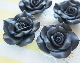2 pcs Huge Polymer Clay Rose Cabochon (40mm) Black FL326