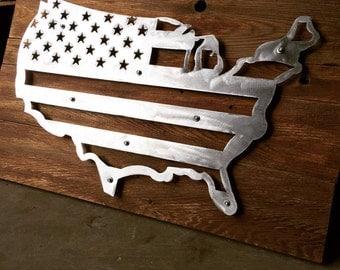 Brushed steel and wood United States shaped flag
