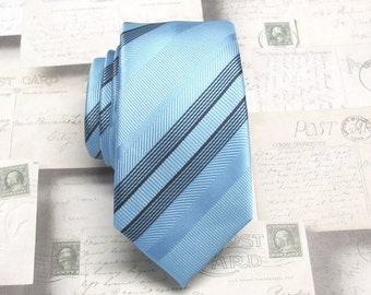 Mens Ties Skinny Tie. Blue Stripes Skinny Necktie