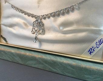 Vintage 1950s Ri-Etta White Rhinestone Necklace Original Box 1/20 12K Gold Filled Bridal Wedding Bridal Birthday Engagement Prom Party