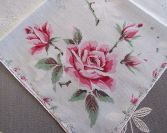 Vintage Printed Cotton ROSE Shades of Pink Handkerchief Mother's Day Gift Birthday