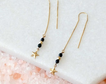 Black and Gold Threader Earrings - Star Earrings - Long Chain Earrings - Thread - Fine Star Earrings (SD1240)