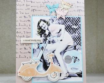 Handmade Greeting Card, Woman on Vespa, Vintage