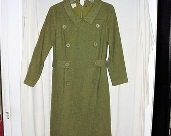 Vintage 60s Green Mod Shift Dress 8 Double Breast Claret Casuals Wool Blend