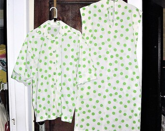 Vintage 60s White Green Polka Dots Shift Dress Top M Button Up Handmade