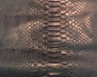 Gray & Gold Metallic Embossed GATOR Cow Leather Hide Piece #1