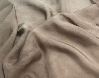 Hand Dyed TAUPE BROWN Soft Silk Organza Fabric - 1 Yard