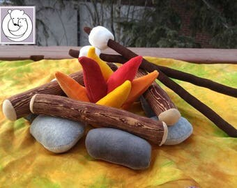 Camp Fire Play Set, Waldorf Inspired , All Natural Materials