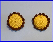 Clearance Sale Scrub Pads Set Of Two Crochet Cotton on Thick Nylon Flower Scrubbie Sunflower Yellow and Brown