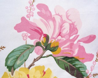 "Vintage 50s 60s SCHUMACHER Decorator Fabric Sample MAGNOLIAS 26"" Chintz"