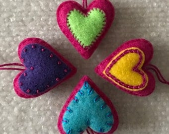 Felt hearts ornament set of four raspberry pink, lime, purple, aqua, yellow