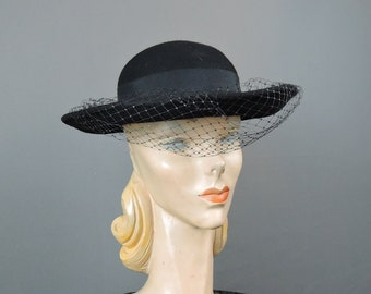 Vintage Black Felt Hat, fits 21 inch head 1980s Wide Brim with Veil