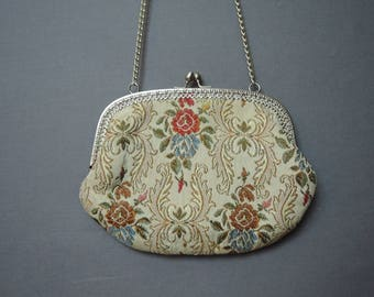 Small Vintage Ivory Brocade Purse with Shoulder Strap 6x7 inches 1970s La Regale