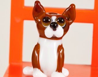 Brown and White Terrier Mix Lampwork Dog Bead