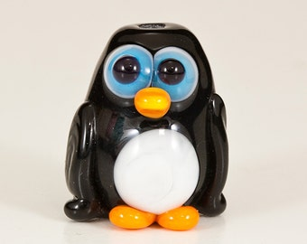Black Penguin Lampwork Animal Bead