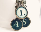 Lorna - Antique Brass Initial Typewriter Key Style Necklace - Monogram Necklace