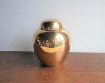 Vintage brass ginger jar