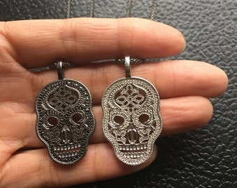 Sugar Skull, Skull Necklace, Calavera, Day of the Dead, Sugar Skull Necklace, Pave Skull Necklace, Skull Jewelry, Long Necklace