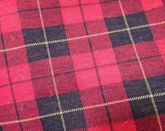 Vintage 50's red plaid wool fabric