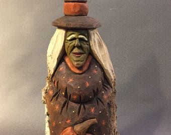 HAND CARVED original Halloween Witch and jack-o-lantern from 100 year old Cottonwood Bark