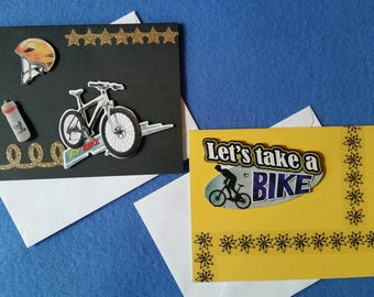 Two Handmade Blank Cards with 3D Bicycles and Equipment, By Bike and Let's Take a Bike, cycling cards, biking cards