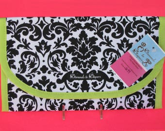 Damask Diaper and Wipes Case Holder Clutch