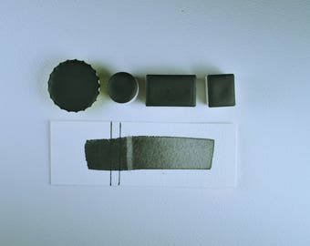 Half Pan or Small Cap - Graphite Noir, Anthesis Arts Artisanal Handcrafted Handmade Watercolor Paints, Choose Your Size