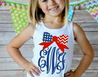 Patriotic monogram  girl tank top or ruffle shirt perfect for July 4th