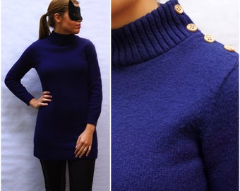 Vintage 1970's Vintage Ribbed Sweater Mini Dress in Royal Blue by Alberoy   Small/Medium