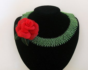 Red Rose Flower Beadwork Beadwoven  Seed Beads  Beaded Flower Hand Made Necklace.