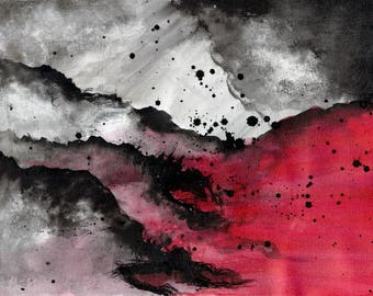 Abstract cloud art 8x12in A4 painting  - abstract red and black smoke