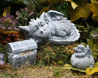Concrete Dragon Statues - 3 Piece Set- Mother Dragon, Baby Dragon Hatchling and Treasure Chest - Outdoor Decor Fairy Garden