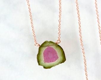 Watermelon Tourmaline Necklace, Tourmaline Slice Necklace - Rose Gold Filled